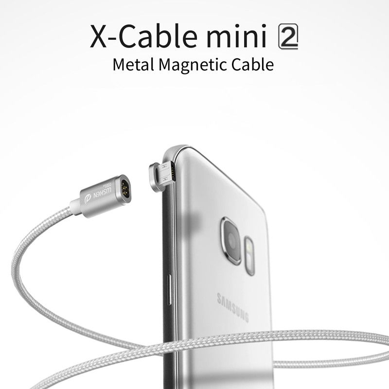 In Stock! 100% Original WSKEN X-Cable Mini 2 Metal Magnetic Cable For Apple iOS or Micro USB Smartphone