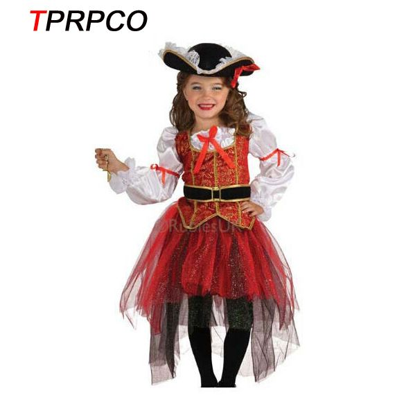 TPRPCO Halloween Christmas pirate costumes  girls party cosplay costume for children kids clothes N162