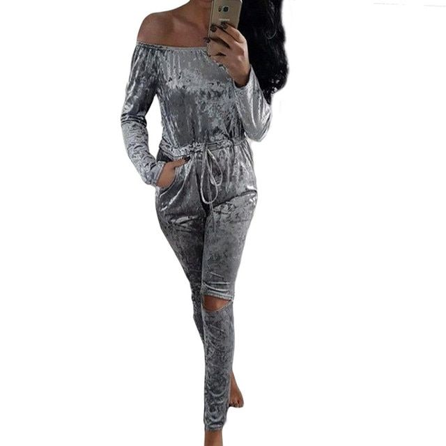 New Fashion Winter Sweat Suits Women Sets Club Wear Clothing Sexy Off Shoulder Top And Pencil Pants Long Sleeve Outfits Jumpsuit