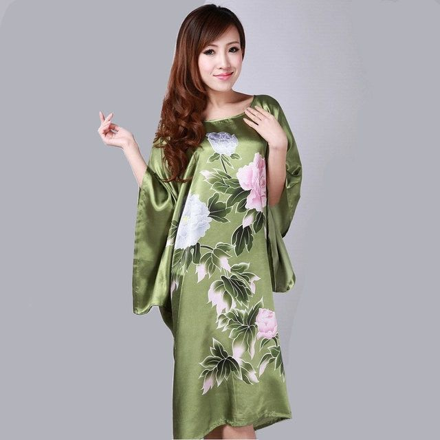 New Arrival Green Women Robe Silk Rayon Bath Gown Mujer Pijama China Style Female Casual Yukata Nightgown One Size Flower S0109