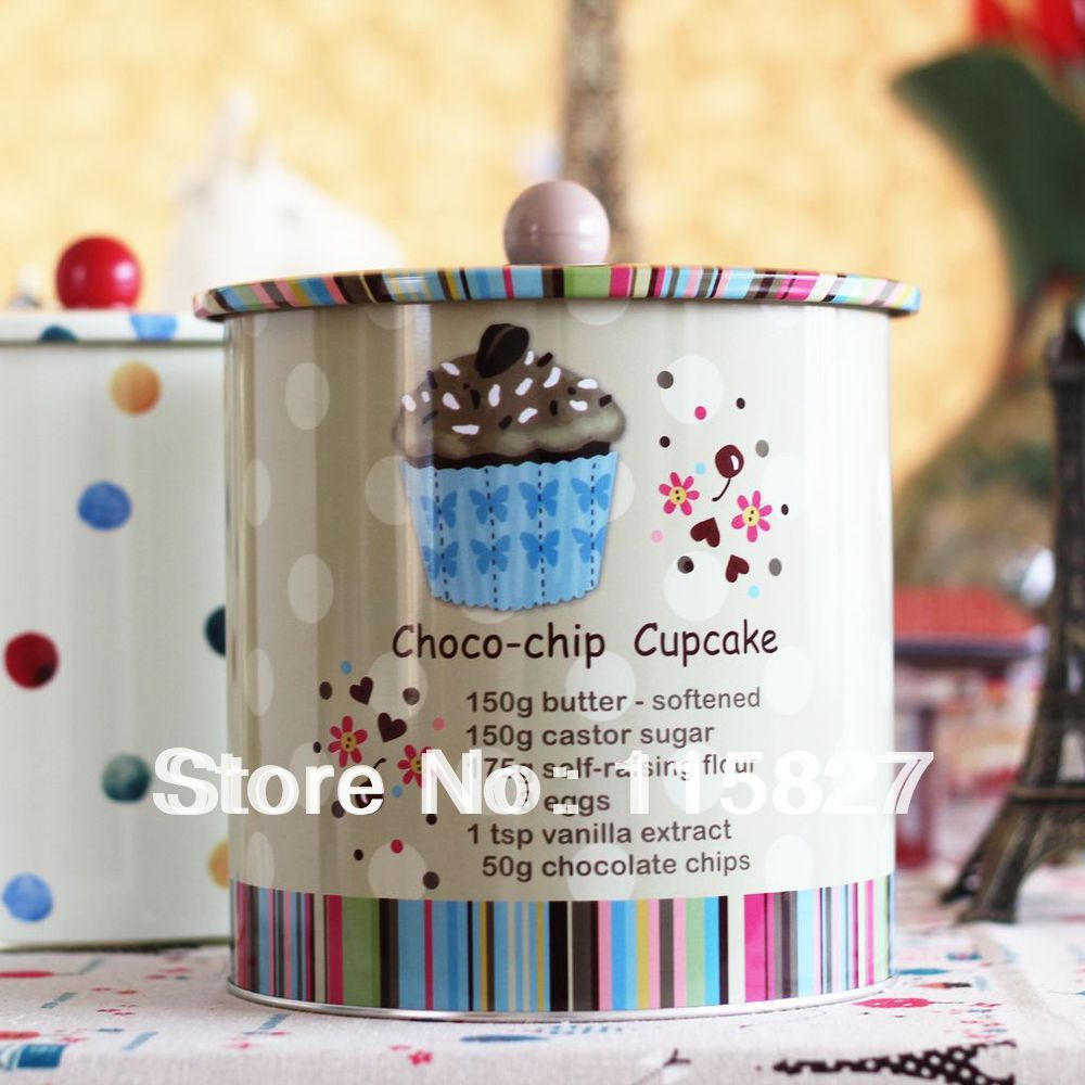 Big size Round storage case iron box tea canister tin case iron container Choco-chip cake cup Hot selling!