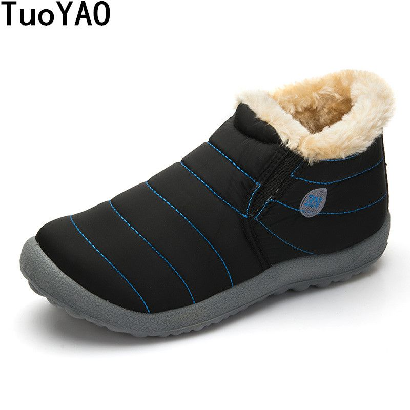 New Fashion Men Winter Shoes Solid Color Snow Boots Cotton Inside Antiskid Bottom Keep Warm Waterproof Ski Boots,Size 48