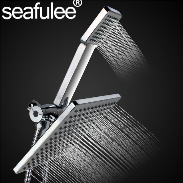 8 inches Square Rainfall Jet Shower Head / Handheld Set Combo Chrome Finished +stainless steel shower hose+ 3-way water diverter