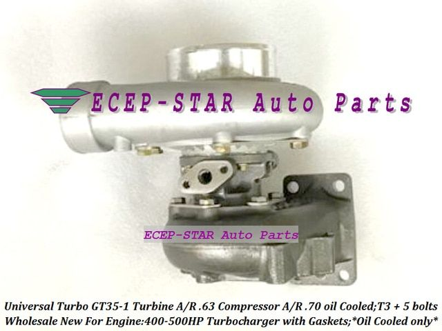 Free Ship Universal Turbo Oil cooled only Turbocharger GT35-1 Turbine A/R .63 Comp. A/R .70 T3 outlet 5 bolts 400-500HP +Gaskets