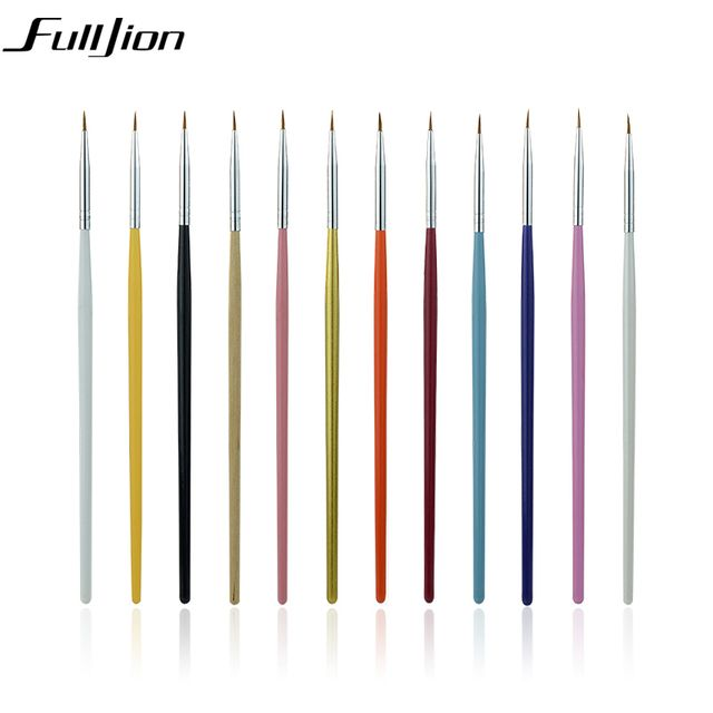 Fulljion 12pcs/set Nail Brushes Pens Manicure Nail Tools Makeup Brushes Nail Art Drawing Pen For Nail Makeup Tool Accessories