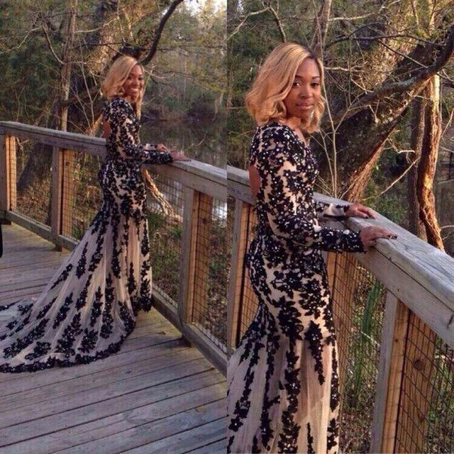 Robe de soiree Backless Beaded Appliques Black Evening Dresses Kaftan Party Gowns Scoop Neck Women Long Sleeve Appliques