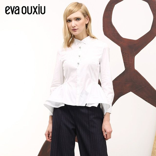 Evaouxiu Autumn Women Long Sleeve Beaded Shirt Flounced Hem Turn-down Blouse White Free Shipping