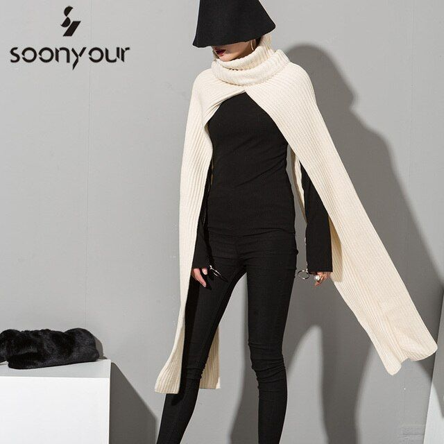 [soonyour] 2017 New Korean fashion solid college wind big high collar warm wool women  scarves wholesale  AS17550