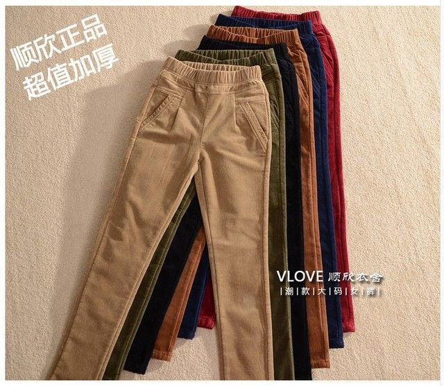 2017 womens Corduroy casual pant cotton high quality wholesale price  large elastic waist thick plus size XXL 3X; 4XL 5XL 6XL