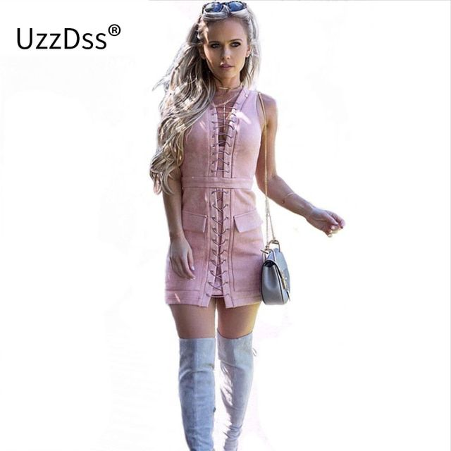 2018 Fashion Women Party dress Sexy club Pink vestido Female Autumn winter Dresses Kylie Jenner Tie up Suede Bodycon Dress