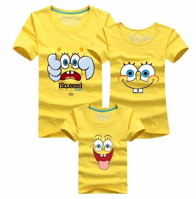 2015 summer style cartoon t-shirt spongebob family look clothing matching father mother daughter son clothes cartoon tshirt
