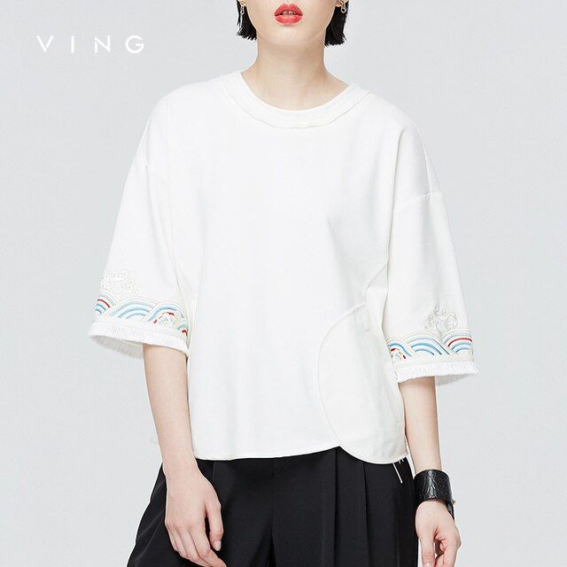 VING 2017 Autumn New Japanese Traditional Embroidery T-shirt Female National Loose Casual