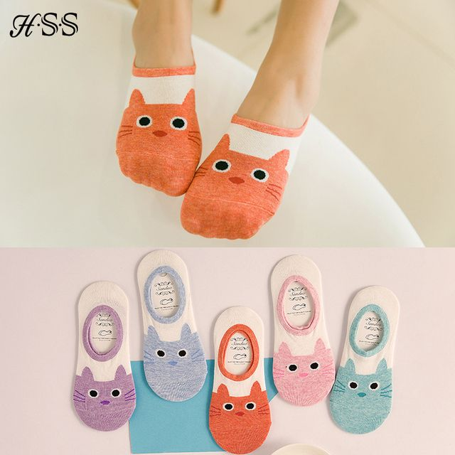 New Arrival High Quality Women Cartoon Socks Cute Cat Boat Sock Summer thin slipper Cotton Floor socks for Lady Girl Kid 5Pairs