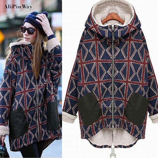 2016 winter jacket Zipper Cotton women coat Geometric patterns outwear loose Comfort Warm Hooded Plus Size Overcoat