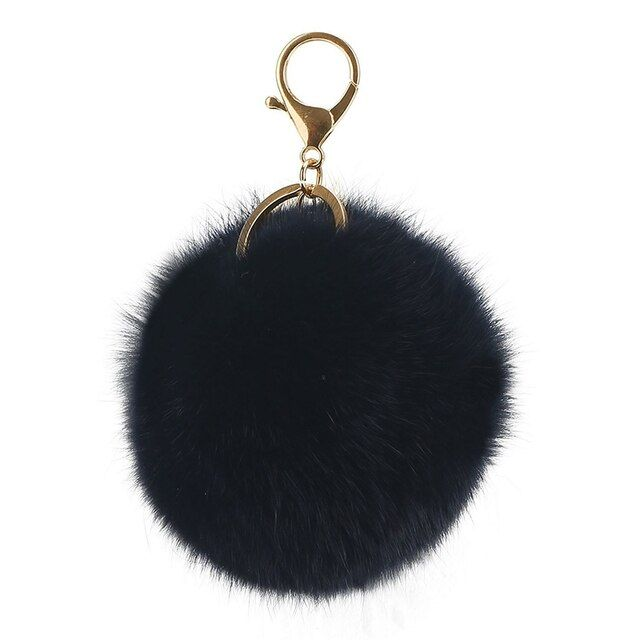 12pcs 8cm rabbit fur ball pompoms keychain alloy plated gold key ring fur pompon chaveiro pumpon fur rabbit keychain