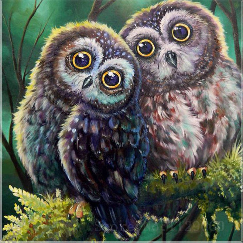 Diy Diamond Painting The Owl Lovers Full Diamond Mosaic Resin Flowers Diamond Embroidery Cross Stitch Needlework Home Decoration