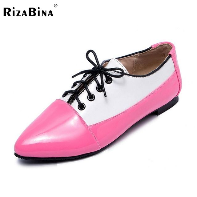 Ladies Flats Shoes Lace Up Pointed Toe Mixed Color Shoes Woman Casual Shoes Brand Student Flat Shoes Footwear Size 34-43