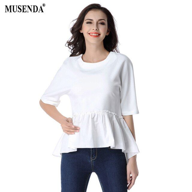 MUSENDA Hot Sales Women Summer Casual Fashion Loose Chiffon Shirts O-Neck Half Sleeve Ruffles Hem White Blouses Tops