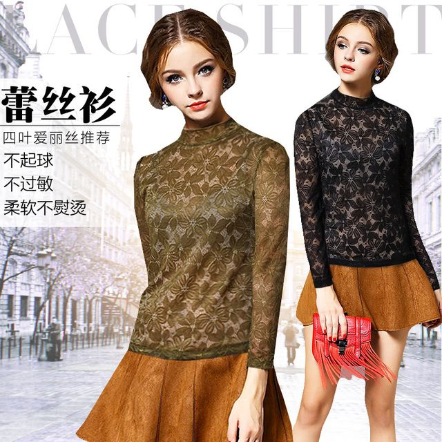 Fashion Brand Quality 2016 New Spring Flower Women's Full Lace Stand Colar Long-sleeve Hollow Transparent T-shirt Wholesale51512