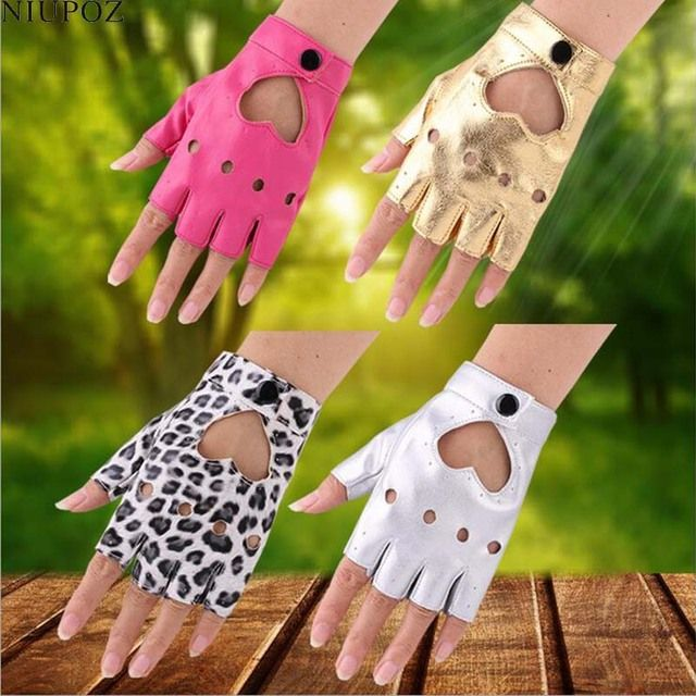 2017 Hot Sale Female Women Sexy Night Club Dance Gloves Gothic Punk Rock Show PU Leather Half finger Fitness Mittens gloves G204