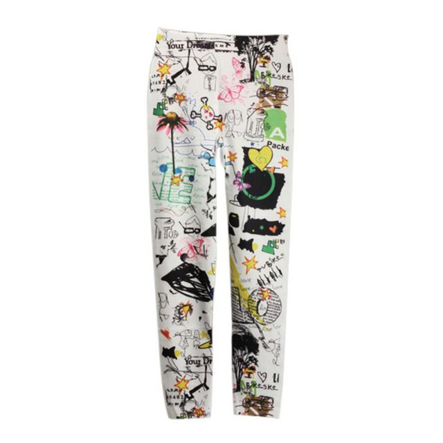 Sexy Women Pants Plus  Size Funky Slim Pants Girls graffiti pants women Stretchy Tights pencil Trousers Skinny Pants FB