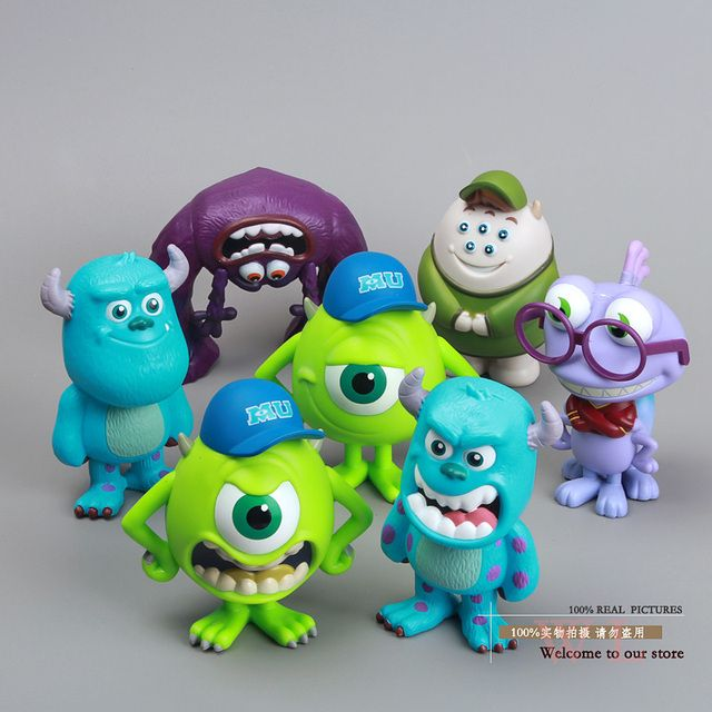 Monsters Inc. Monsters University Mike Sully Mini PVC Action Figure Model Toys Dolls with Retail Box 8cm 7pcs/set DSFG065