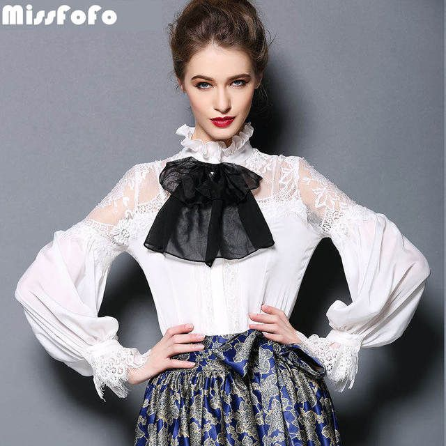 MissFoFo One Piece Blouse Shirt Slim Embroidery Women's Demi-Season Fashion Casual Shirt 2016 Autumn and Spring Bow 2XL Lantern