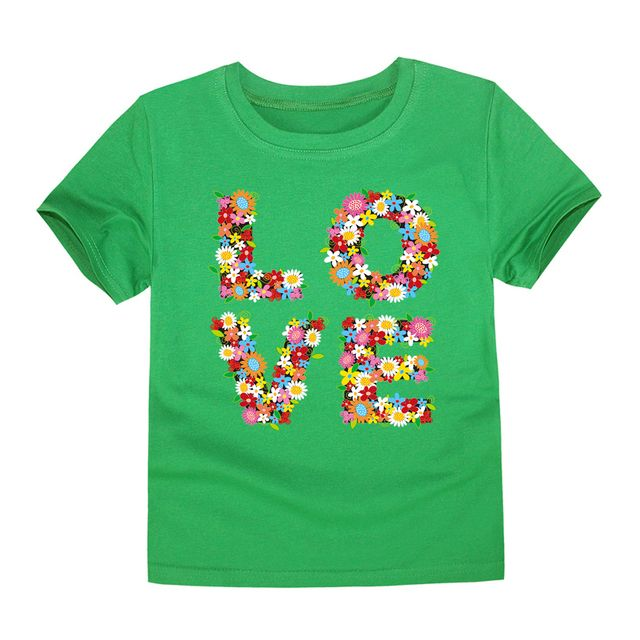 2018 new boys T-shirt baby summer short sleeve tee children 100% cotton flower kids love print for 2-14 years girls