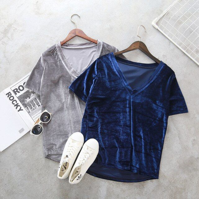 New Casual V Neck Velvet Top Basic T Shirt Women Short Sleeve Warm Velour T-shirts Ladies Solid Sexy Tee Tops Femme 1261