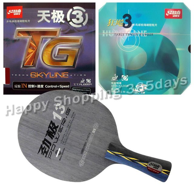 Pro Table Tennis PingPong Combo Racket DHS POWER.G13 PG13 PG.13 PG 13 with NEO Hurricane 3 and Skyline TG 3 Long shakehand FL