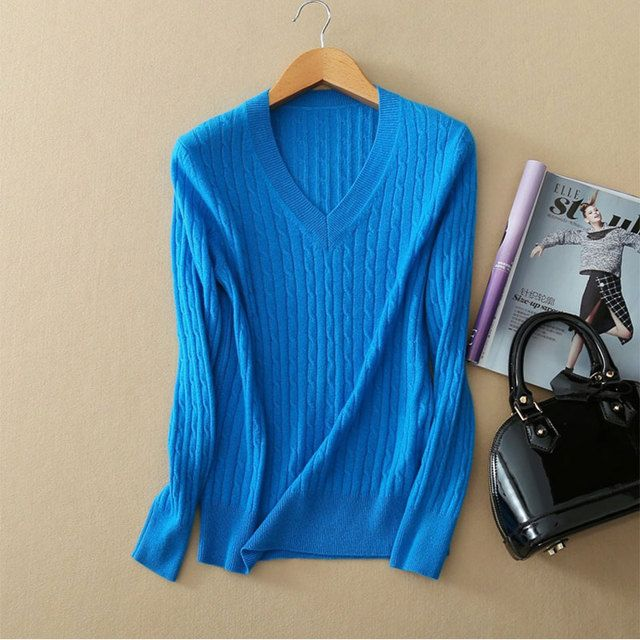 2017 Newest Autumn Pull Over Sweater Women 100% Pure Cashmere O-neck Long Sleeve Navy Blue Sweater For Women Free Shipping