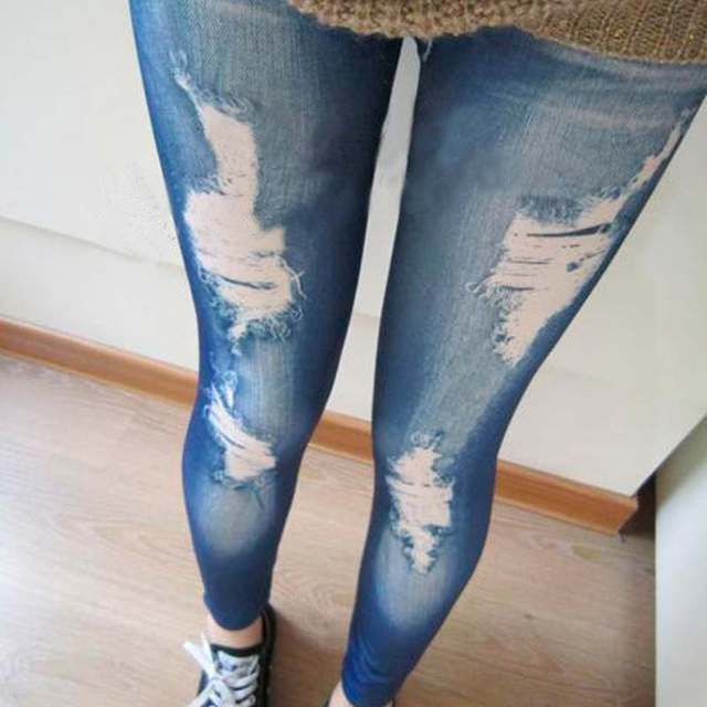 Ripped Denim Jeans Look Skinny Jeggings Tights Pants Trousers Blue High Quality
