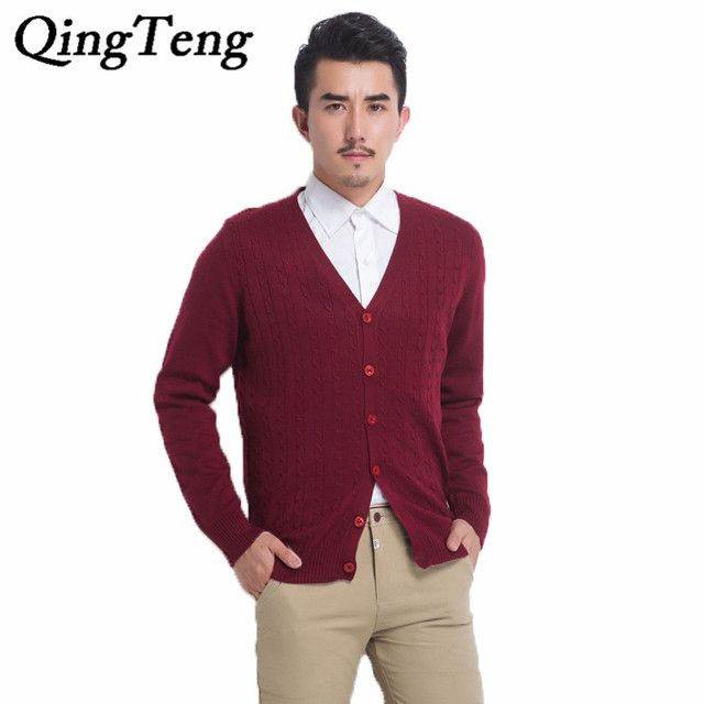 2015 Autumn Winter Fashion Men Cashmere Wool Brand Cardigan V Neck Long Sleeve Thicken Cardigans Twisted XXL Knitted Sweater