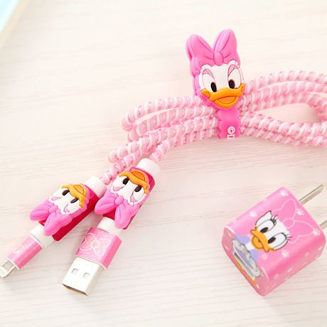 DIY SET Cartoon USB Data Line Cable Protector Set with Cable Winder stickers Spiral Cord protector For iphone 5 6 6s