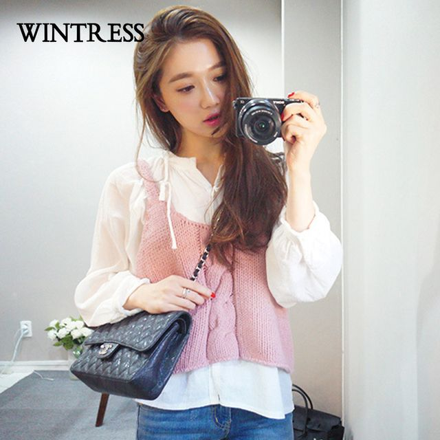 WINTRESS Spring Korean Women Sets 2 Piece Solid Cotton Linen White Shirt Top And Knitted Pink Condole Belt Vest Sweater