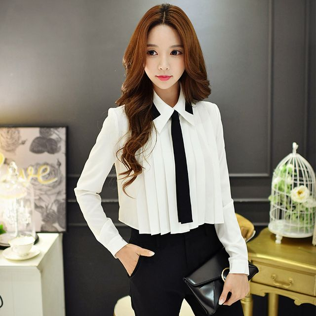 Original New Design 2016 Brand Blusas Autumn Plus Size Long Sleeve Slim Casual OL Elegant White Short Tie Shirt Women Wholesale