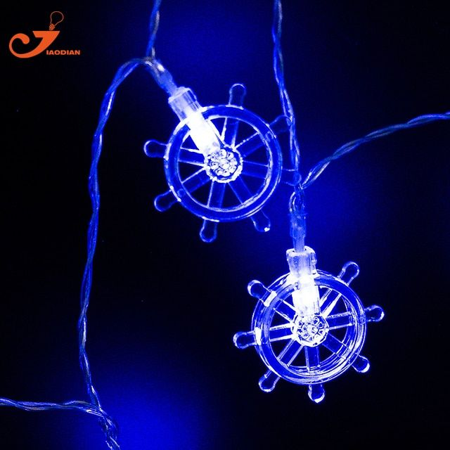 Blue Rudder Lights Helm String Lighting Chrildren's Toy Light  Party  10LED Fairy Battery  Powered Steer The Ship decoration