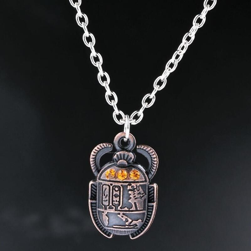 Egyptian Scarab Beetle Pendant Necklace Wicca Pagan Jewelry  Rebirth Revival Eternity Gothic Necklaces Christmas Gift Choker