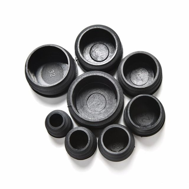 10Pcs 8 Sizes 16-35mm Black Plastic Furniture Leg Plug Blanking End Caps Insert Plugs Bung For Round Pipe Tube