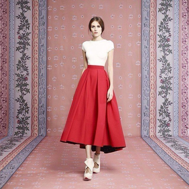 Trendy Red Winter  Autumn Spring Style Mid Calf Taffeta Skirt Long Skirts For Women Solid Color Custom Made Free Shipping