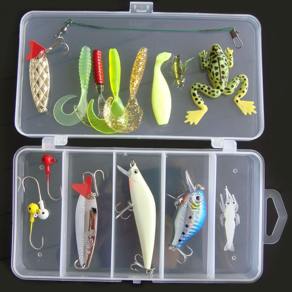 16Pcs Fishing Lure Set Hard Soft Bait Minnow Spoon Crank Shrimp Jig Hook w/ Box