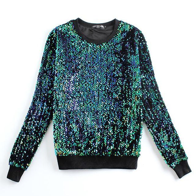 Fashion golden green sequined Sweatshirts long-sleeved, loose beads ladies street beat shiny costumes