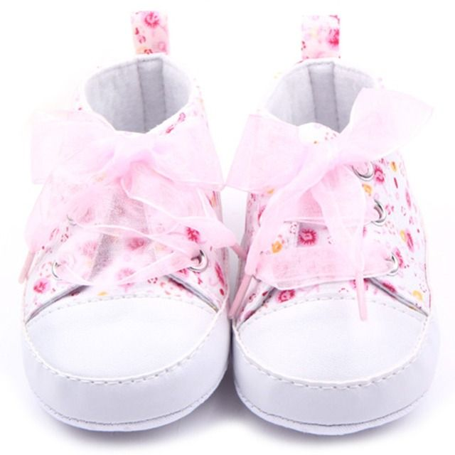 First Walkers0-12 M Newborn Toddler Baby Girls Crib Shoes Soft Sole Anti-slip Floral Walk Canvas Sneaker