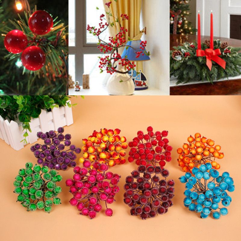 20Pcs/set Home Decorative Flowers Wreaths Small Bouquet of Artificial Wedding Flowers Stamens Cherry Berry