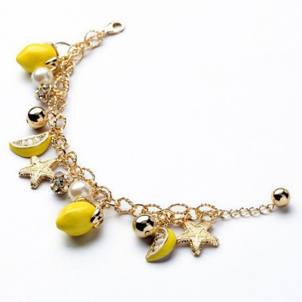 2016 New Arrival Starfish Pendant Lemon Fruit OL Style Bracelet Korean Fashion Women Bracelets & Bangles