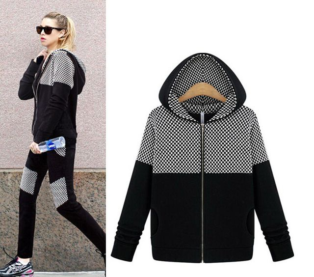 Spring 2016 European latest fashion women leisure suits High quality big yards hooded color matching slim pants women suit G1567