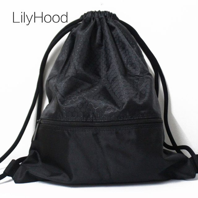 LilyHood 2018 Women Men Nylon Plain Black Shoes Waterproof String Bag Female Daily Everyday Drawstring Backpack Storage Bags
