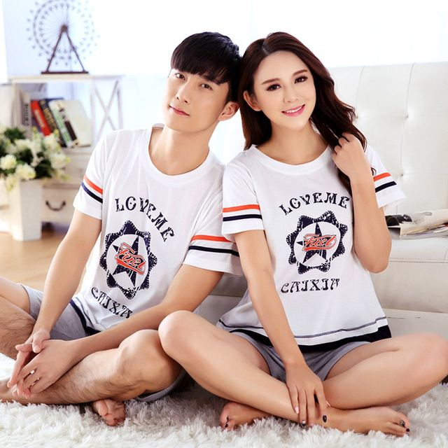 Summer Plus Size Women and man  Pyjamas  Sleepwear 100% cotton Pajamas Set for couple