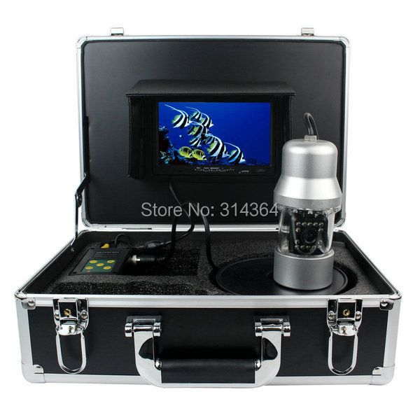 "1/3 SONY CCD Effio-E 700TVL Underwater Fishing Camera Fish Finder 7"" TFT LCD Monitor 20M Cable 14pcs White LED Rotate 360 Degree"