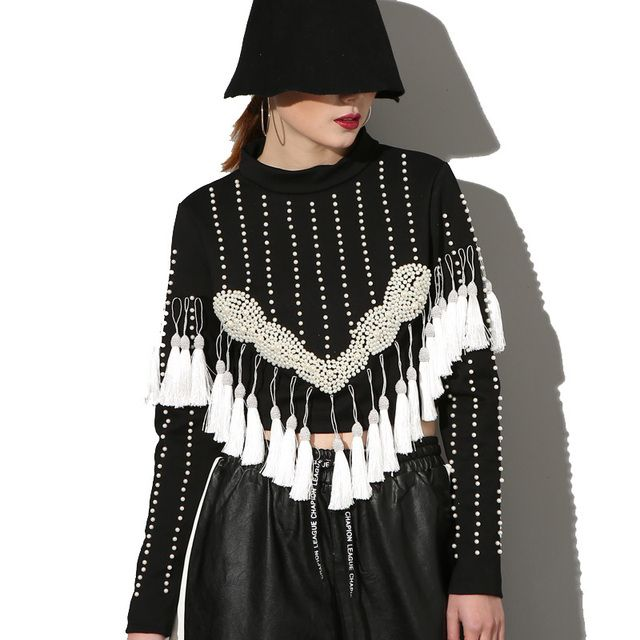 [soonyour] 2017 spring fashion new women's beaded fringed head long-sleeved high-collar short Sweatshirts top AS19680